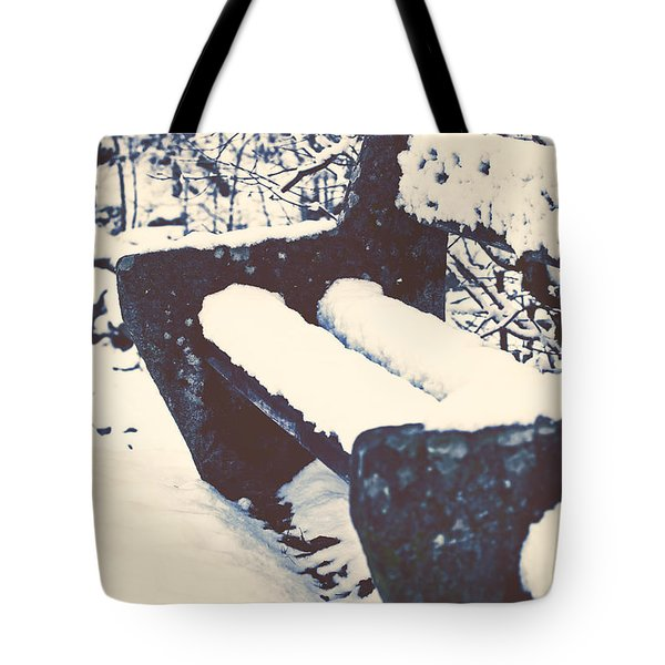 Bench With Snow Tote Bag by Joana Kruse