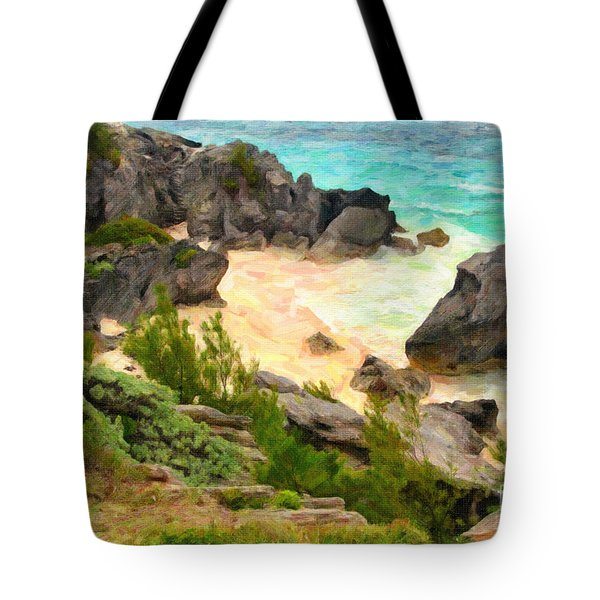 Tote Bag featuring the photograph Bermuda Hidden Beach by Verena Matthew