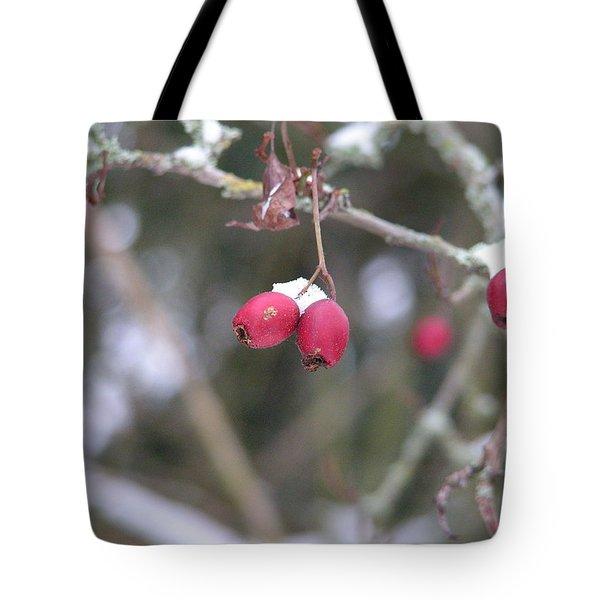Berries In Winter Tote Bag