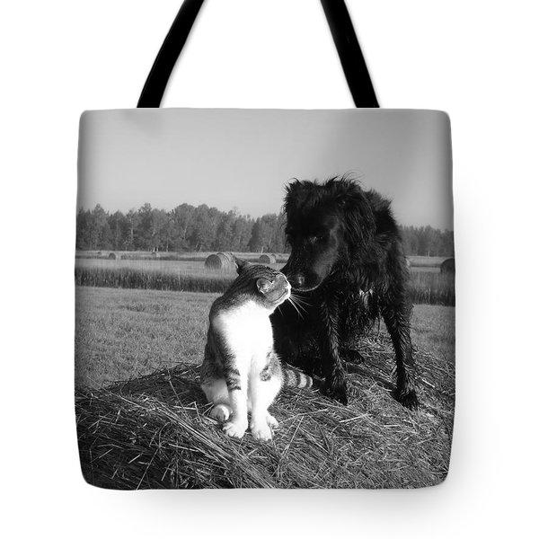 Best Buddies Black And White Tote Bag