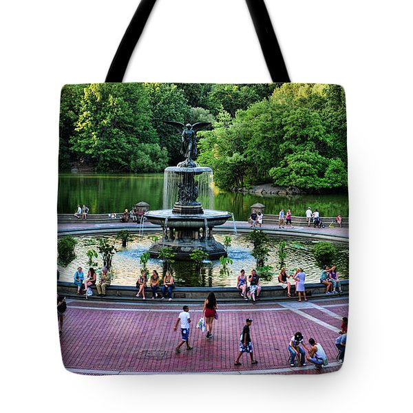 Bethesda Fountain Overlooking Central Park Pond Tote Bag by Paul Ward