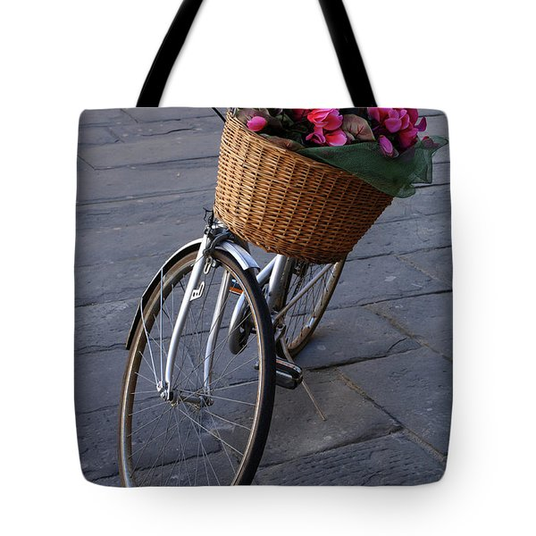 Bicycle In Lucca Italy Tote Bag by Bob Christopher