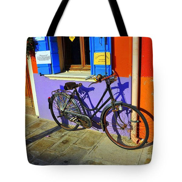 Bicycle Stance Burano Italy Tote Bag