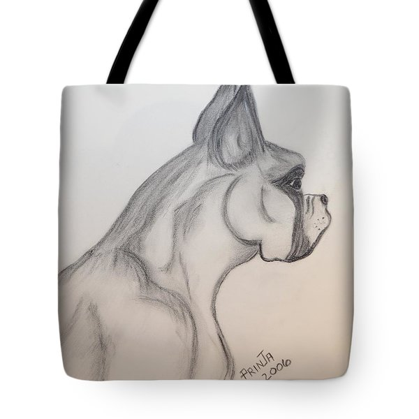 Tote Bag featuring the drawing Big Boxer by Maria Urso