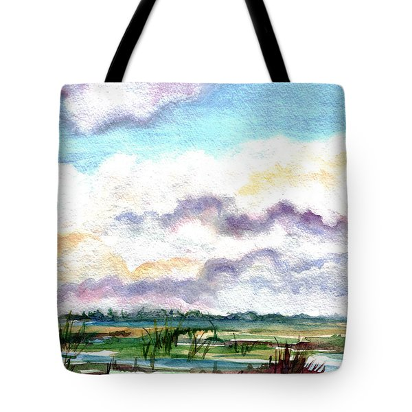 Tote Bag featuring the painting Big Clouds by Clara Sue Beym