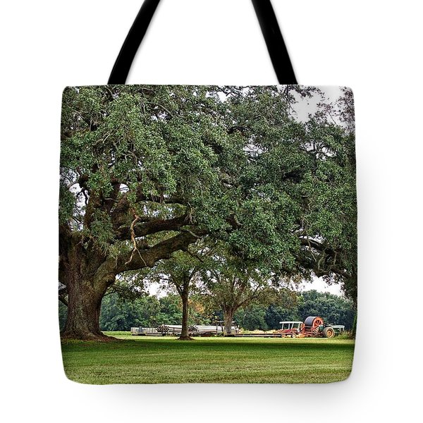 Big Oak And The Tractors Tote Bag by Michael Thomas