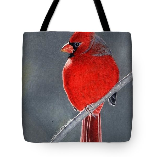 Tote Bag featuring the drawing Big Red Northern Cardinal by Ana Tirolese