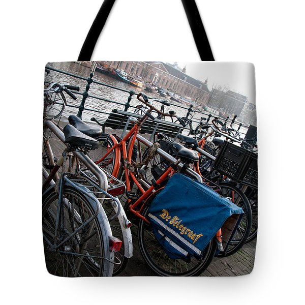 Tote Bag featuring the digital art Bikes In Amsterdam by Carol Ailles