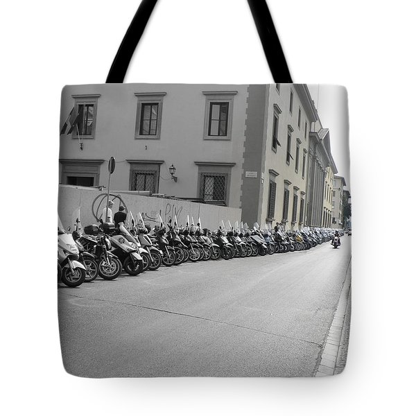 Tote Bag featuring the photograph Bikes by Laurel Best