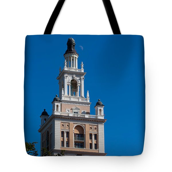 Tote Bag featuring the photograph Biltmore Hotel Tower And Moon by Ed Gleichman