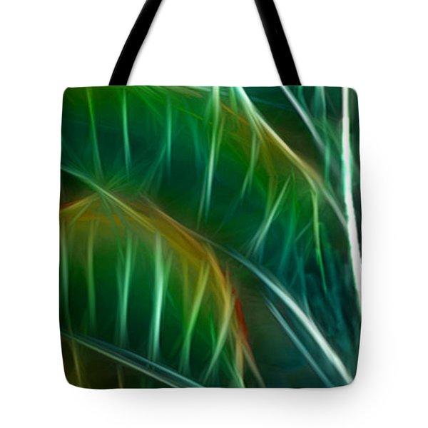 Bird Of Paradise Fractal Panel 3 Tote Bag by Peter Piatt