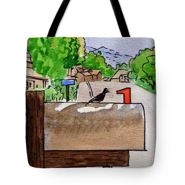 Bird On The Mailbox Sketchbook Project Down My Street Tote Bag by Irina Sztukowski