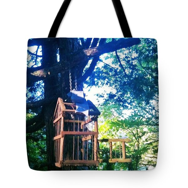 Birdcage Above My Reading Bench Tote Bag