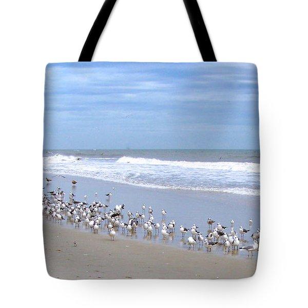 Birds On A Beach Tote Bag by Carol  Bradley
