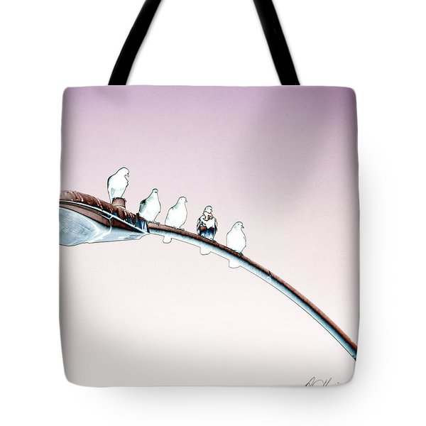 Birds On A Streetlight Tote Bag