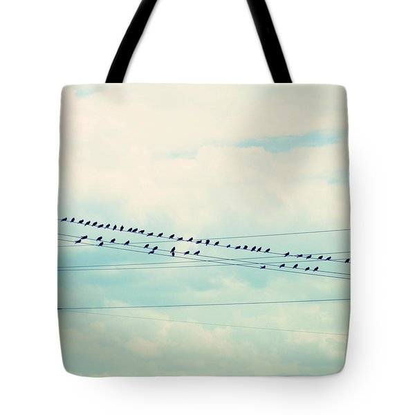 Birds On Wires Blue Tint Tote Bag by Paulette B Wright