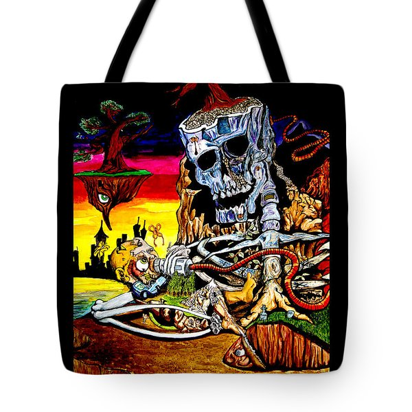 Tote Bag featuring the mixed media Birth And Death by eVol  i