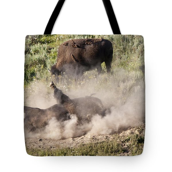 Bison Dust Bath Tote Bag by Paul Cannon