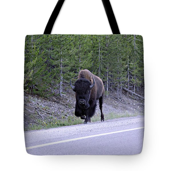 Bison On Road Tote Bag