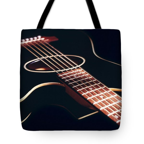 Black Acoustic Guitar Tote Bag by Mike McGlothlen