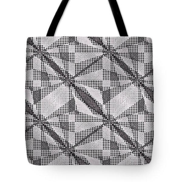 Tote Bag featuring the digital art Black And White Abstract by Susan Leggett