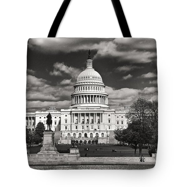 Tote Bag featuring the photograph Black And White Capitol by Jim Moore