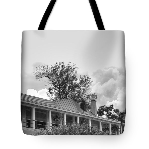 Tote Bag featuring the photograph Black And White Delaware Casino by Michael Frank Jr