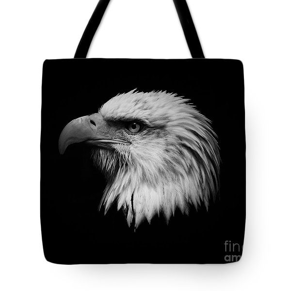 Tote Bag featuring the photograph Black And White Eagle by Steve McKinzie