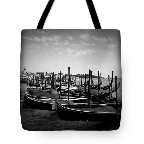 Tote Bag featuring the photograph Black And White Gondolas by Laurel Best