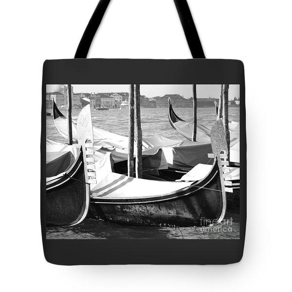 Black And White Gondolas Venice Italy Tote Bag by Rebecca Margraf