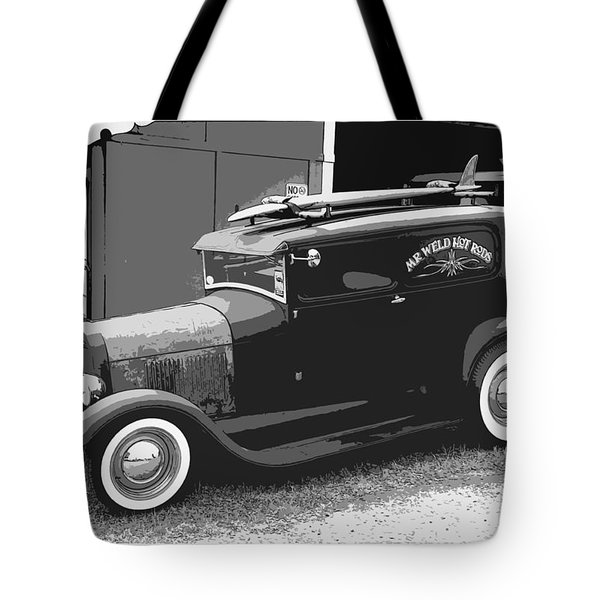 Black And White Surf Rod Tote Bag by Steve McKinzie