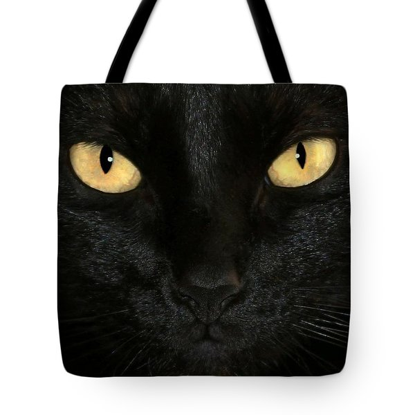 Tote Bag featuring the photograph Black Cat Halloween Card by Sabrina L Ryan