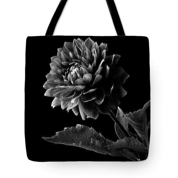 Black Dahlia In Black And White Tote Bag