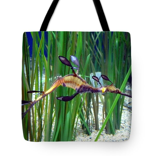 Black Dragon Seahorse Tote Bag by Carla Parris