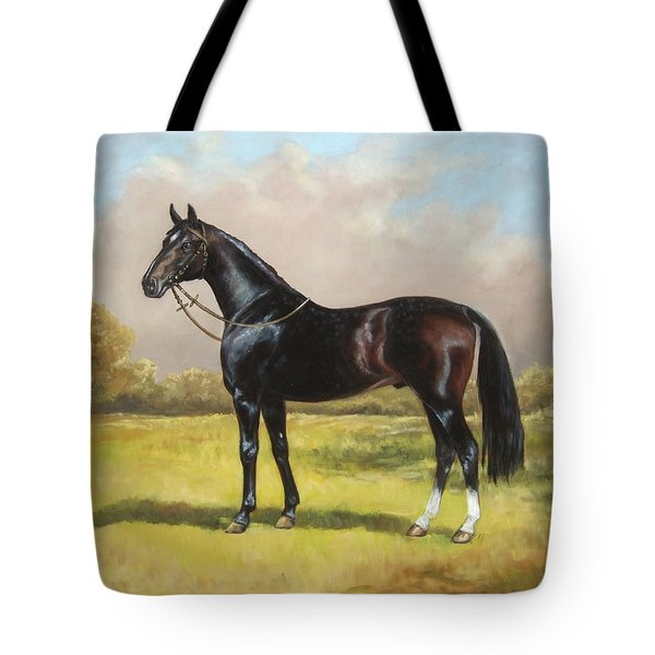 Black English Horse Tote Bag