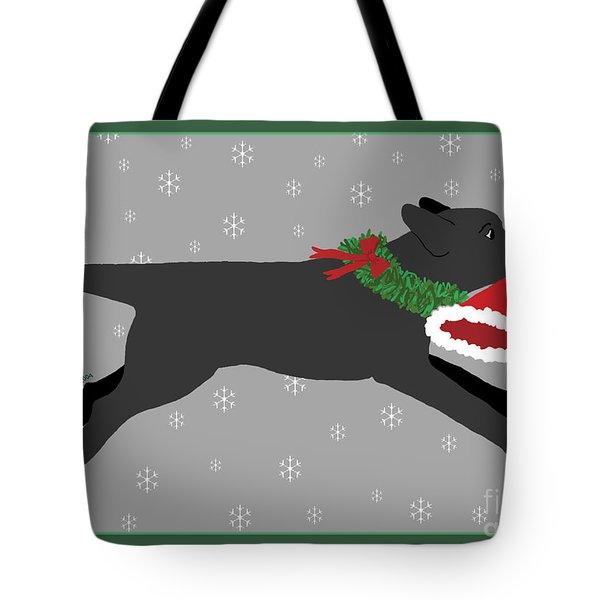 Black Labrador Steals Santa's Hat Tote Bag