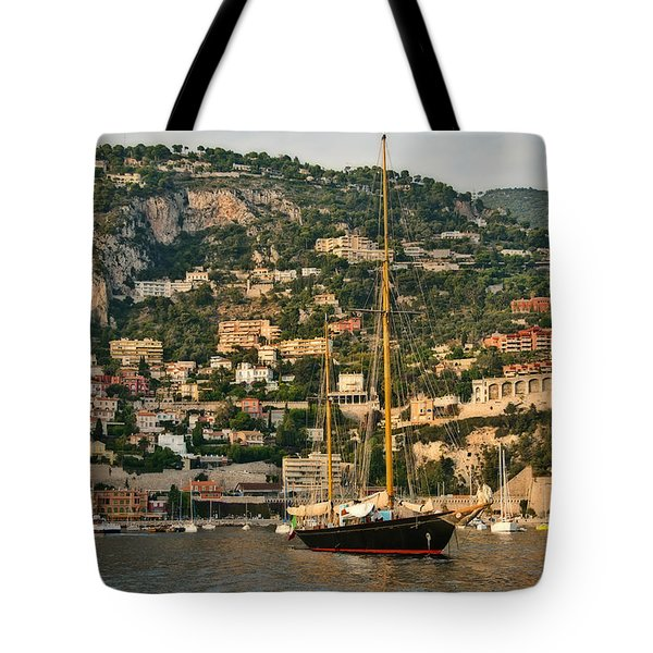 Tote Bag featuring the photograph Black Sailboat by Steven Sparks