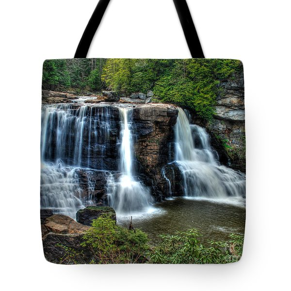 Tote Bag featuring the photograph Black Water Falls by Mark Dodd
