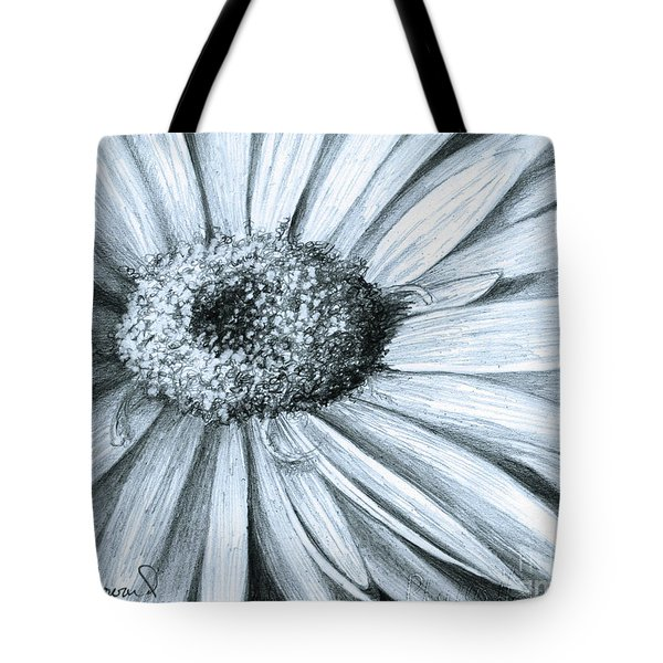 Tote Bag featuring the drawing Black White Gerber by Phyllis Howard