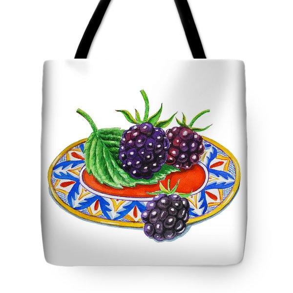 Blackberries Tote Bag by Irina Sztukowski
