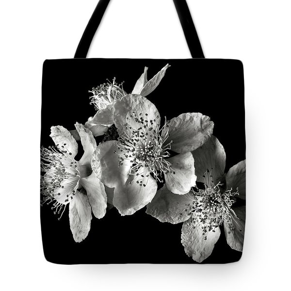 Blackberry Flowers In Black And White Tote Bag