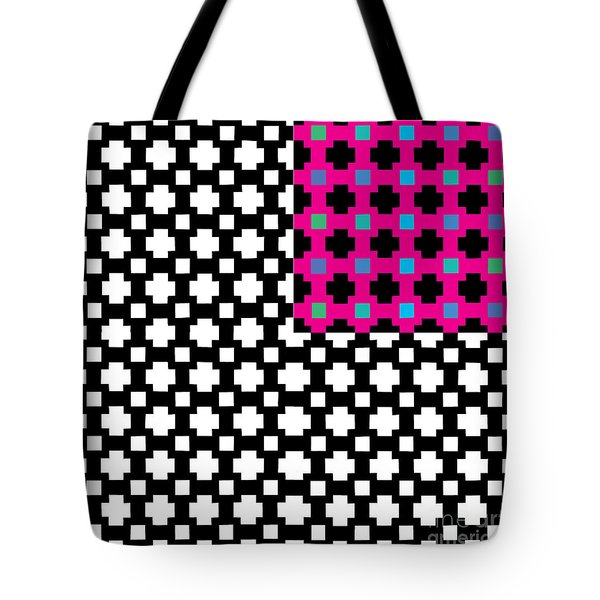 optical illuson Pink Black flag 2 Tote Bag