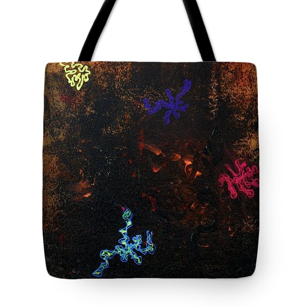 Tote Bag featuring the painting Blacklight Sea by Lola Connelly