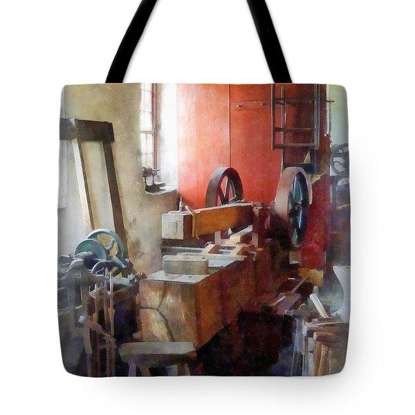 Blacksmith Shop Near Windows Tote Bag by Susan Savad