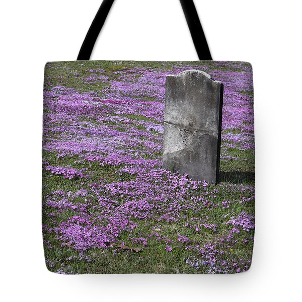 Blank Colonial Tombstone Amidst Graveyard Phlox Tote Bag by John Stephens
