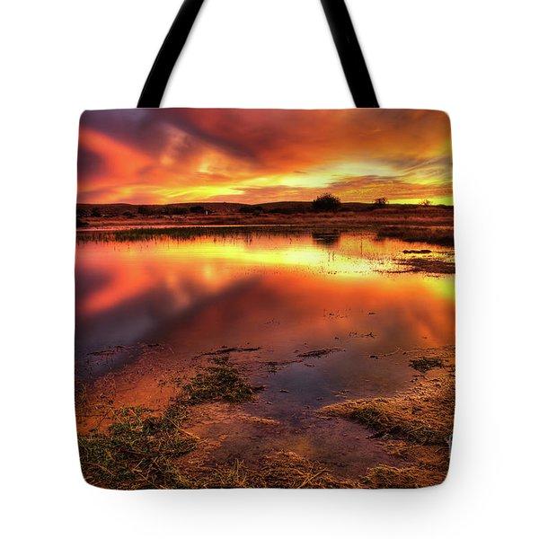 Blazing Sky Tote Bag by Carlos Caetano
