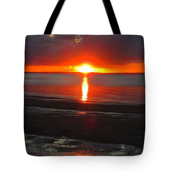 Tote Bag featuring the photograph Blazing Sunset by Ramona Johnston