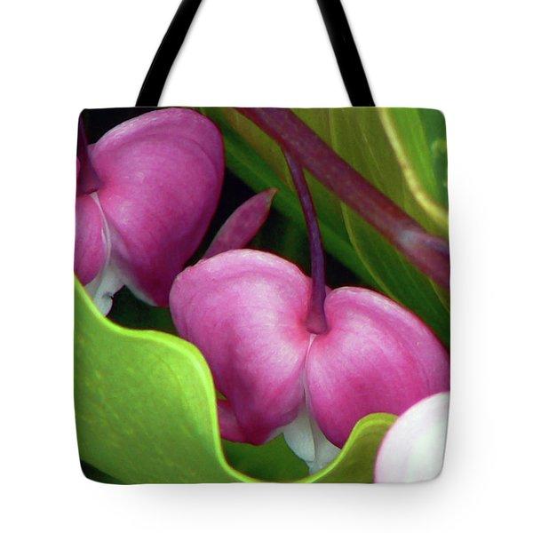 Bleeding Heart Nestled  Tote Bag by Pamela Patch