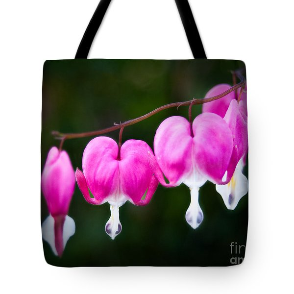 Tote Bag featuring the photograph Bleeding Hearts 001 by Larry Carr