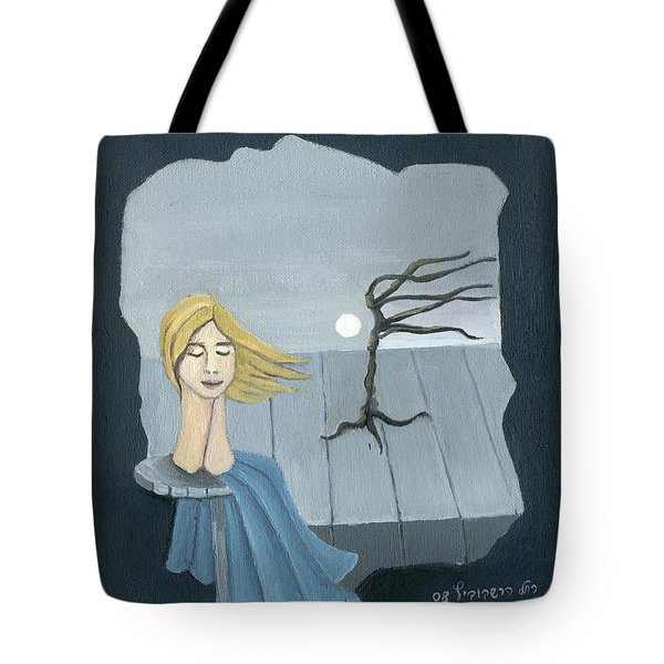 Blond In The Wind Surrealistic Landscape Windy Tree Woman Head In Blue And Yellow  Tote Bag by Rachel Hershkovitz